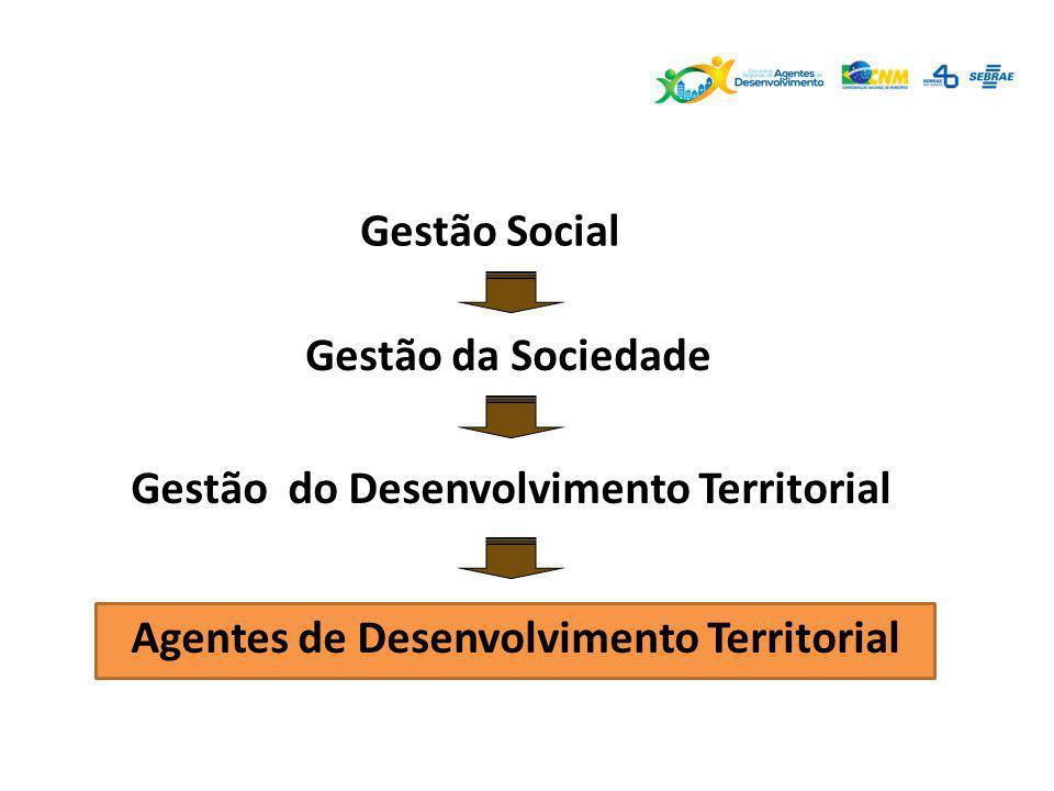 Gestão do Desenvolvimento Territorial Gestão da Sociedade Gestão Social Agentes de Desenvolvimento Territorial