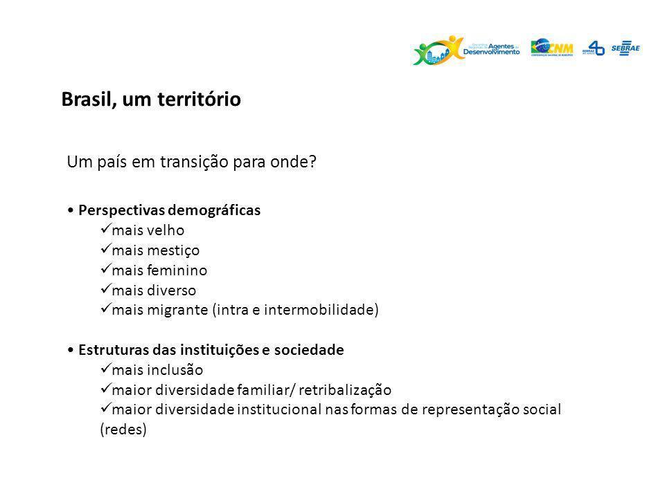 Brasil, um território Um país em transição para onde? Perspectivas demográficas mais velho mais mestiço mais feminino mais diverso mais migrante (intr