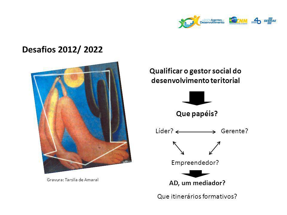 Desafios 2012/ 2022 Qualificar o gestor social do desenvolvimento teritorial Que papéis? Gravura: Tarsila de Amaral Líder?Gerente? Empreendedor? AD, u