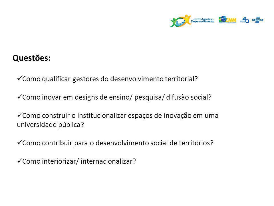 Questões: Como qualificar gestores do desenvolvimento territorial? Como inovar em designs de ensino/ pesquisa/ difusão social? Como construir o instit