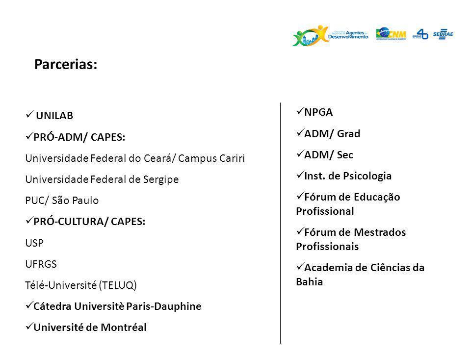 Parcerias: UNILAB PRÓ-ADM/ CAPES: Universidade Federal do Ceará/ Campus Cariri Universidade Federal de Sergipe PUC/ São Paulo PRÓ-CULTURA/ CAPES: USP