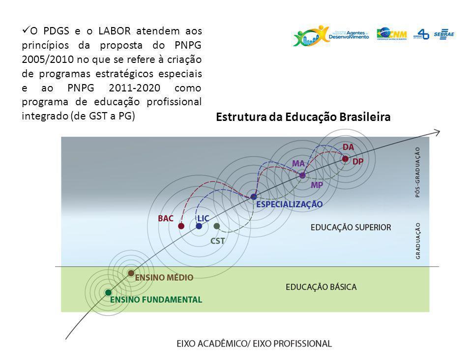 Estrutura da Educação Brasileira O PDGS e o LABOR atendem aos princípios da proposta do PNPG 2005/2010 no que se refere à criação de programas estraté