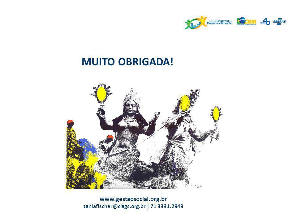 MUITO OBRIGADA! www.gestaosocial.org.br taniafischer@ciags.org.br | 71 3331.2949