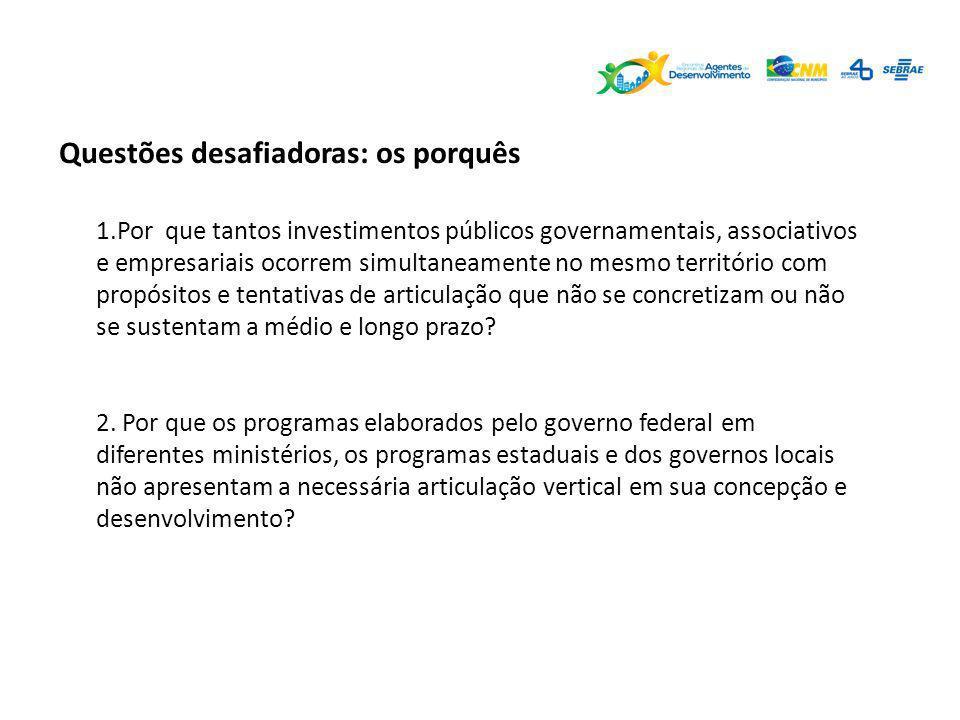 Questões desafiadoras: os porquês 1.Por que tantos investimentos públicos governamentais, associativos e empresariais ocorrem simultaneamente no mesmo