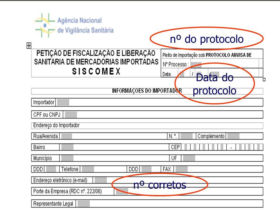 Agência Nacional de Vigilância Sanitária www.anvisa.gov.br Data do protocolo nº corretos nº do protocolo