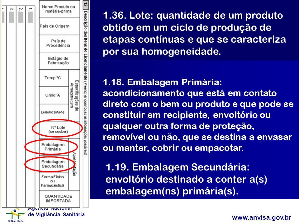 Agência Nacional de Vigilância Sanitária www.anvisa.gov.br 1.36. Lote: quantidade de um produto obtido em um ciclo de produção de etapas contínuas e q