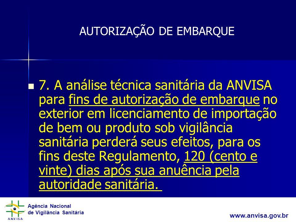 Agência Nacional de Vigilância Sanitária www.anvisa.gov.br 7. A análise técnica sanitária da ANVISA para fins de autorização de embarque no exterior e