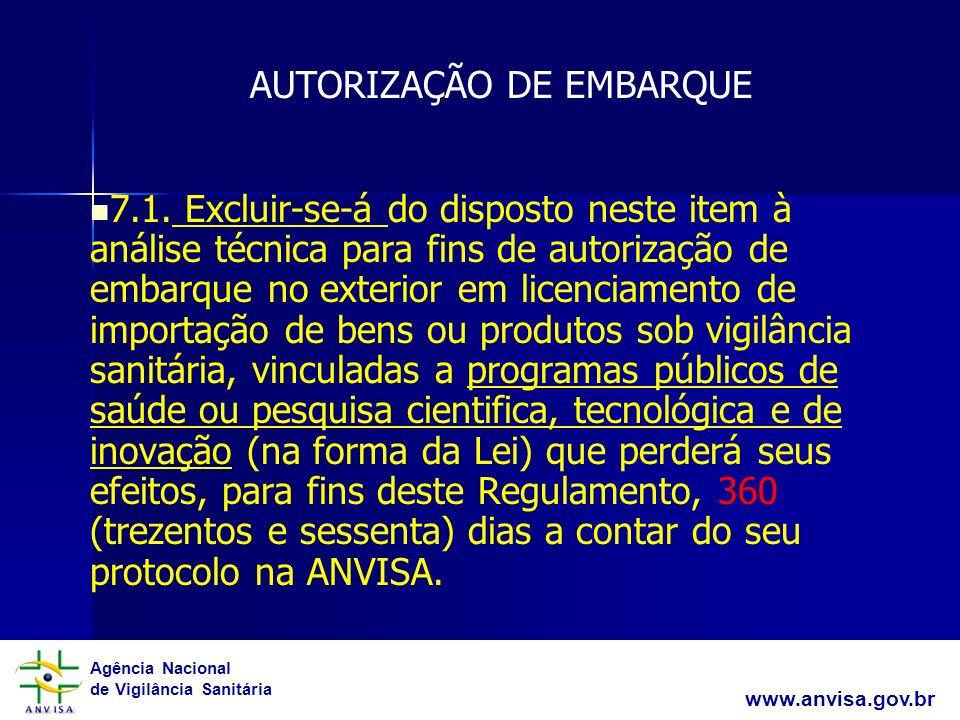 Agência Nacional de Vigilância Sanitária www.anvisa.gov.br 7.1. Excluir-se-á do disposto neste item à análise técnica para fins de autorização de emba
