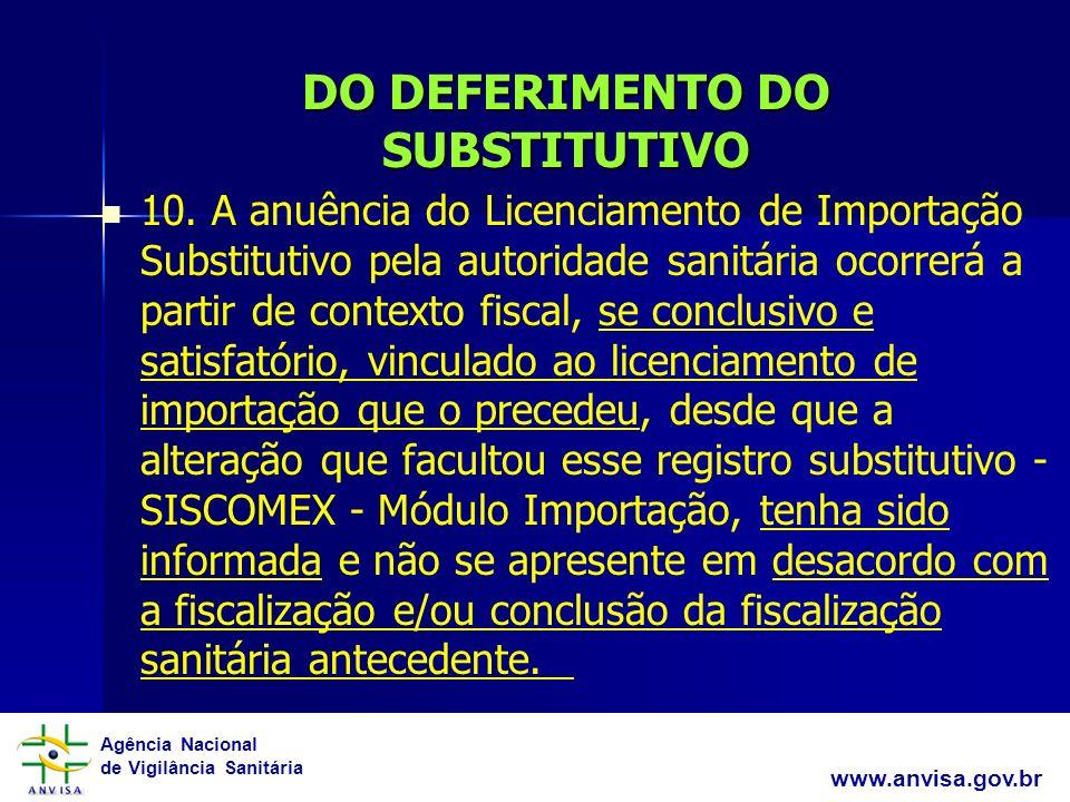 Agência Nacional de Vigilância Sanitária www.anvisa.gov.br DO DEFERIMENTO DO SUBSTITUTIVO 10. A anuência do Licenciamento de Importação Substitutivo p