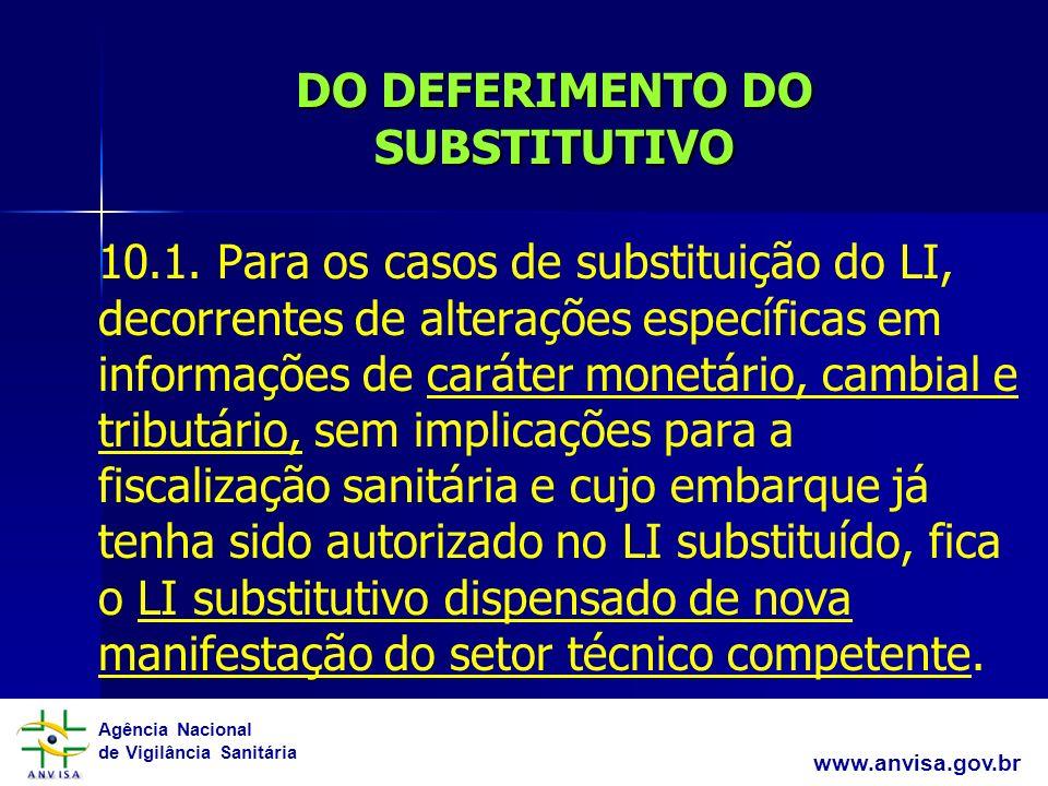 Agência Nacional de Vigilância Sanitária www.anvisa.gov.br DO DEFERIMENTO DO SUBSTITUTIVO 10.1. Para os casos de substituição do LI, decorrentes de al