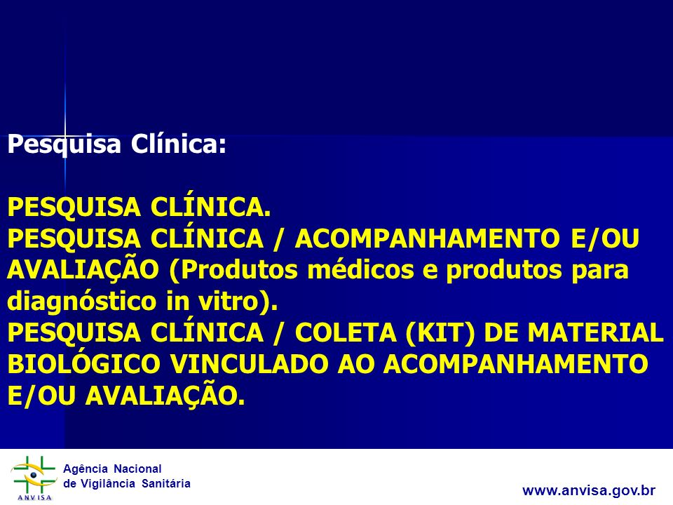 Agência Nacional de Vigilância Sanitária www.anvisa.gov.br Pesquisa Clínica: PESQUISA CLÍNICA. PESQUISA CLÍNICA / ACOMPANHAMENTO E/OU AVALIAÇÃO (Produ