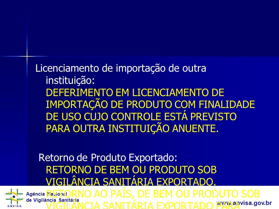 Agência Nacional de Vigilância Sanitária www.anvisa.gov.br Licenciamento de importação de outra instituição: DEFERIMENTO EM LICENCIAMENTO DE IMPORTAÇÃ