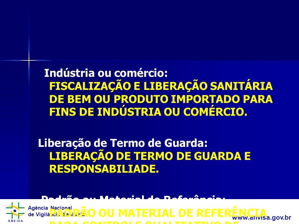 Agência Nacional de Vigilância Sanitária www.anvisa.gov.br Indústria ou comércio: FISCALIZAÇÃO E LIBERAÇÃO SANITÁRIA DE BEM OU PRODUTO IMPORTADO PARA