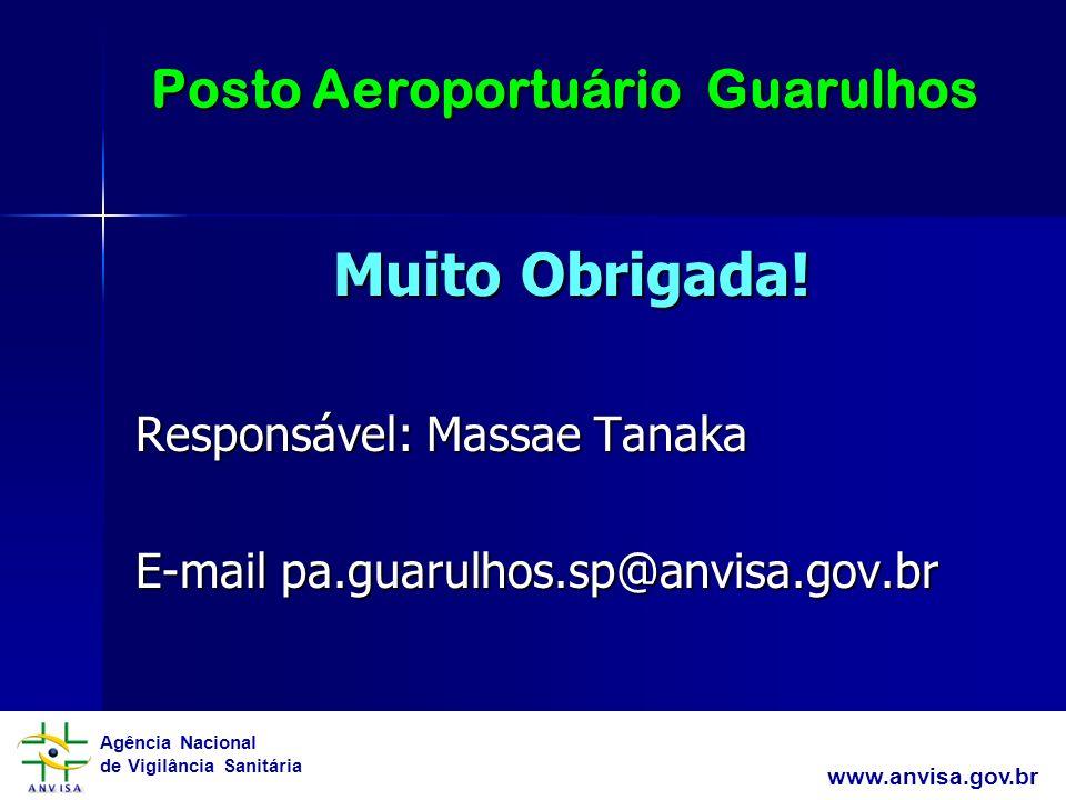 Agência Nacional de Vigilância Sanitária www.anvisa.gov.br Posto Aeroportuário Guarulhos Muito Obrigada! Muito Obrigada! Responsável: Massae Tanaka E-