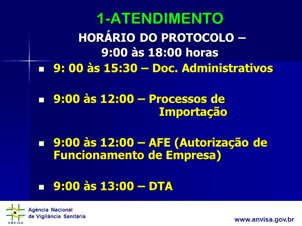 Agência Nacional de Vigilância Sanitária www.anvisa.gov.br 1-ATENDIMENTO HORÁRIO DO PROTOCOLO – 9:00 às 18:00 horas 9: 00 às 15:30 – Doc. Administrati