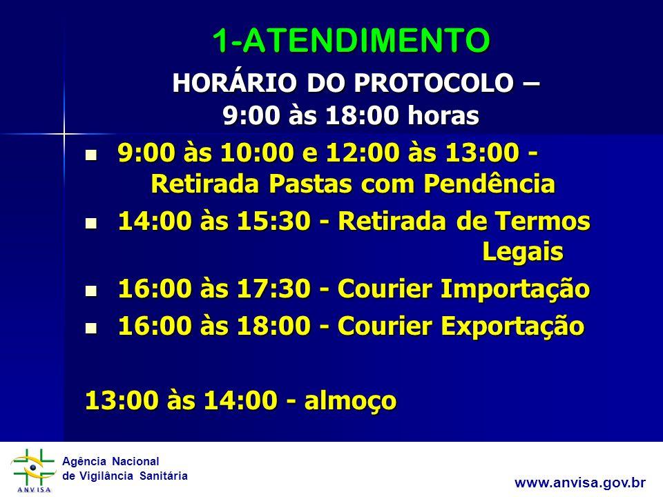 Agência Nacional de Vigilância Sanitária www.anvisa.gov.br 1-ATENDIMENTO HORÁRIO DO PROTOCOLO – 9:00 às 18:00 horas 9:00 às 10:00 e 12:00 às 13:00 - R