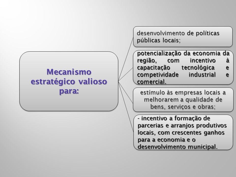 Mecanismo estratégico valioso para: potencialização da economia da região, com incentivo à capacitação tecnológica e competividade industrial e comerc