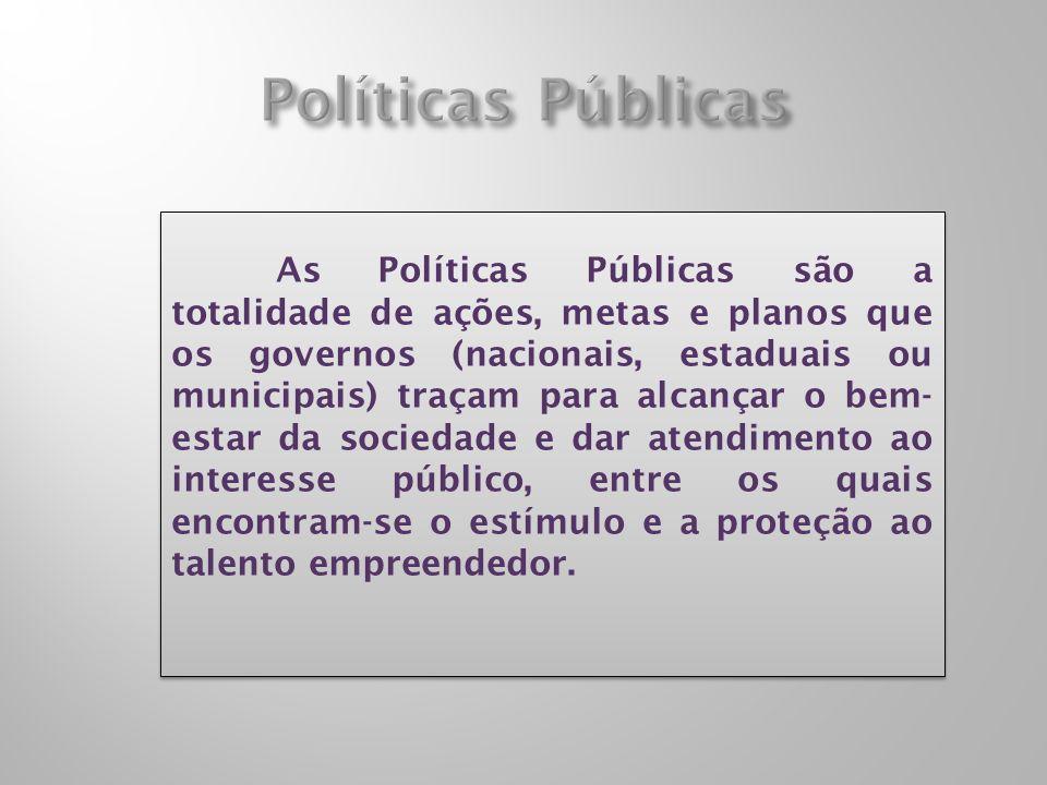 As Políticas Públicas são a totalidade de ações, metas e planos que os governos (nacionais, estaduais ou municipais) traçam para alcançar o bem- estar