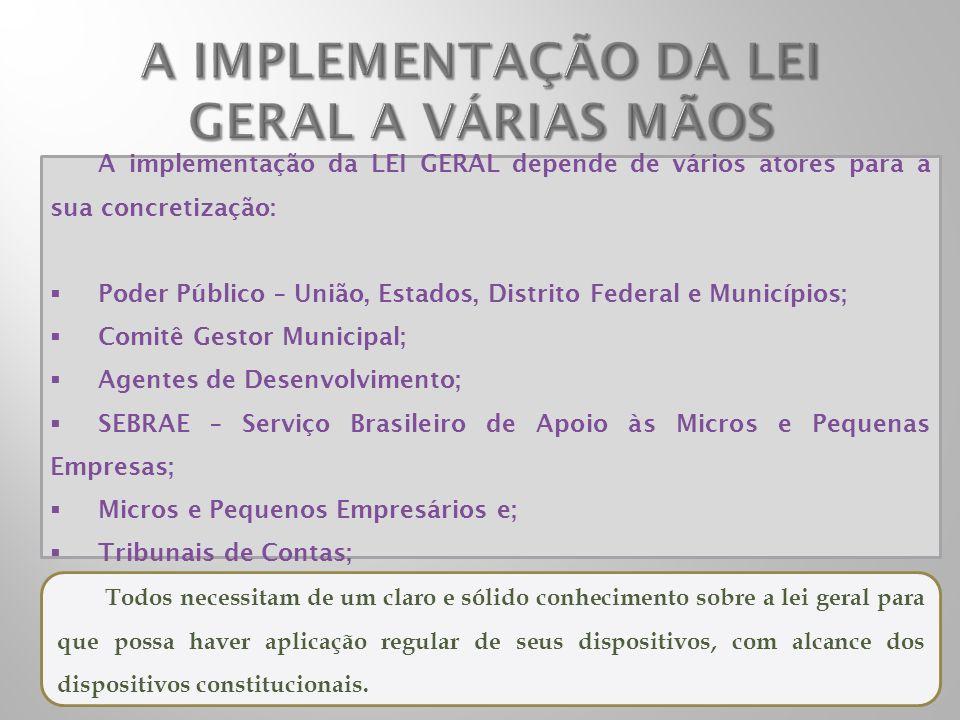 A implementação da LEI GERAL depende de vários atores para a sua concretização: Poder Público – União, Estados, Distrito Federal e Municípios; Comitê