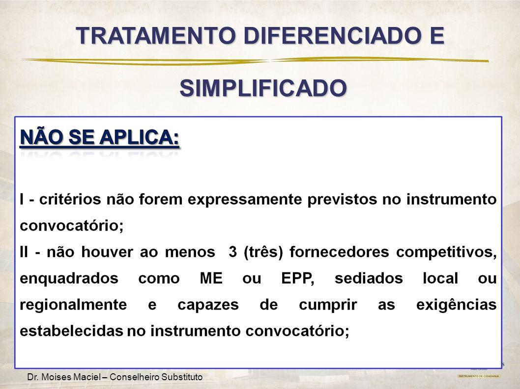 Fomenta MT – Edição Regional Dr. Moises Maciel – Conselheiro Substituto TRATAMENTO DIFERENCIADO E SIMPLIFICADO SIMPLIFICADO