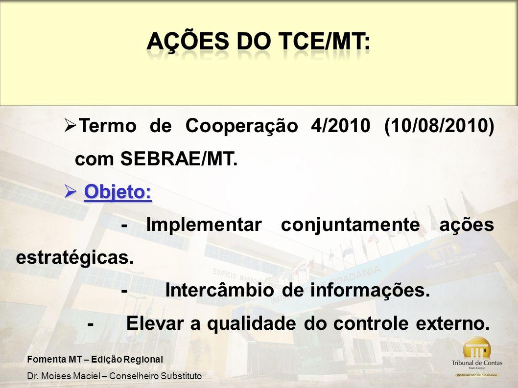 Fomenta MT – Edição Regional Dr. Moises Maciel – Conselheiro Substituto Termo de Cooperação 4/2010 (10/08/2010) com SEBRAE/MT. Objeto: Objeto: - Imple