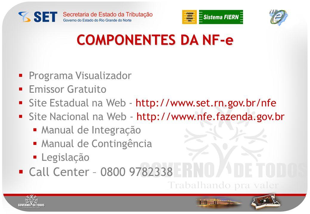 Programa Visualizador Emissor Gratuito Site Estadual na Web - http://www.set.rn.gov.br/nfe Site Nacional na Web - http://www.nfe.fazenda.gov.br Manual de Integração Manual de Contingência Legislação Call Center – 0800 9782338 COMPONENTES DA NF-e