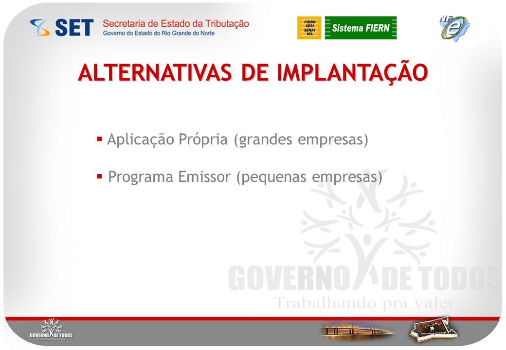 ALTERNATIVAS DE IMPLANTAÇÃO Aplicação Própria (grandes empresas) Programa Emissor (pequenas empresas)
