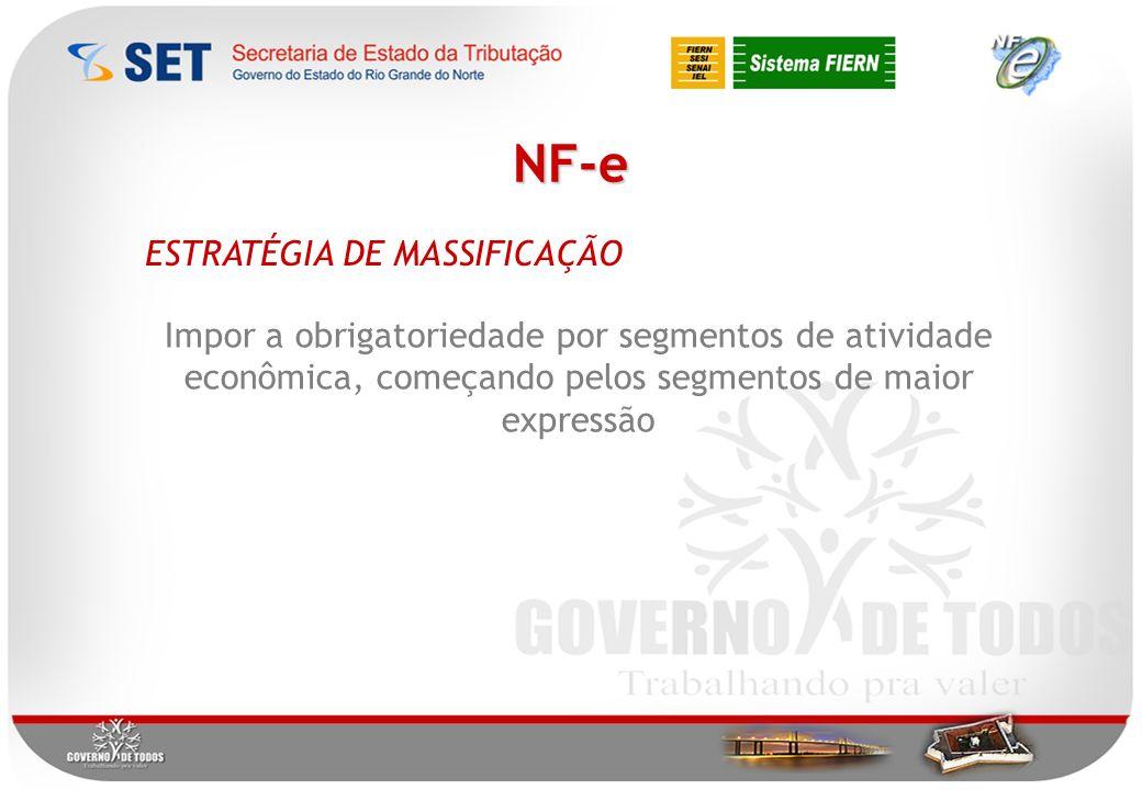 NF-e ESTRATÉGIA DE MASSIFICAÇÃO Impor a obrigatoriedade por segmentos de atividade econômica, começando pelos segmentos de maior expressão