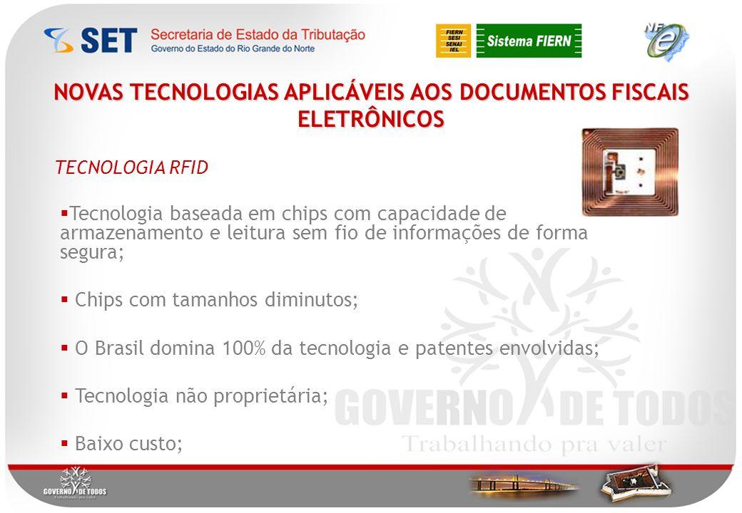 NOVAS TECNOLOGIAS APLICÁVEIS AOS DOCUMENTOS FISCAIS ELETRÔNICOS Tecnologia baseada em chips com capacidade de armazenamento e leitura sem fio de informações de forma segura; Chips com tamanhos diminutos; O Brasil domina 100% da tecnologia e patentes envolvidas; Tecnologia não proprietária; Baixo custo; TECNOLOGIA RFID