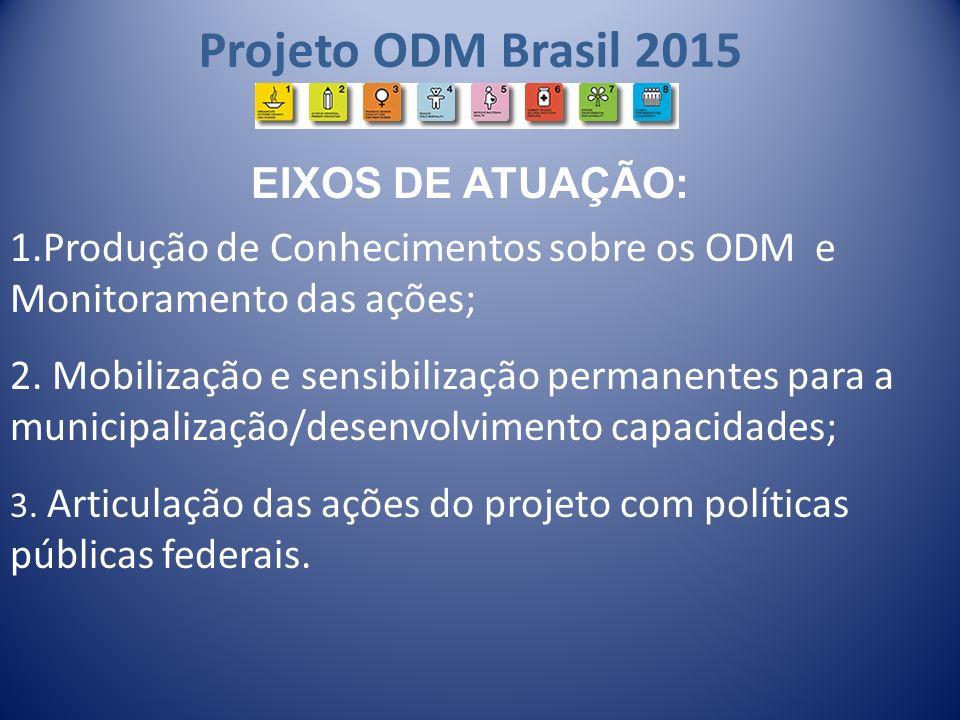 Projeto ODM Brasil 2015 1.Produção de Conhecimentos sobre os ODM e Monitoramento das ações; 2. Mobilização e sensibilização permanentes para a municip