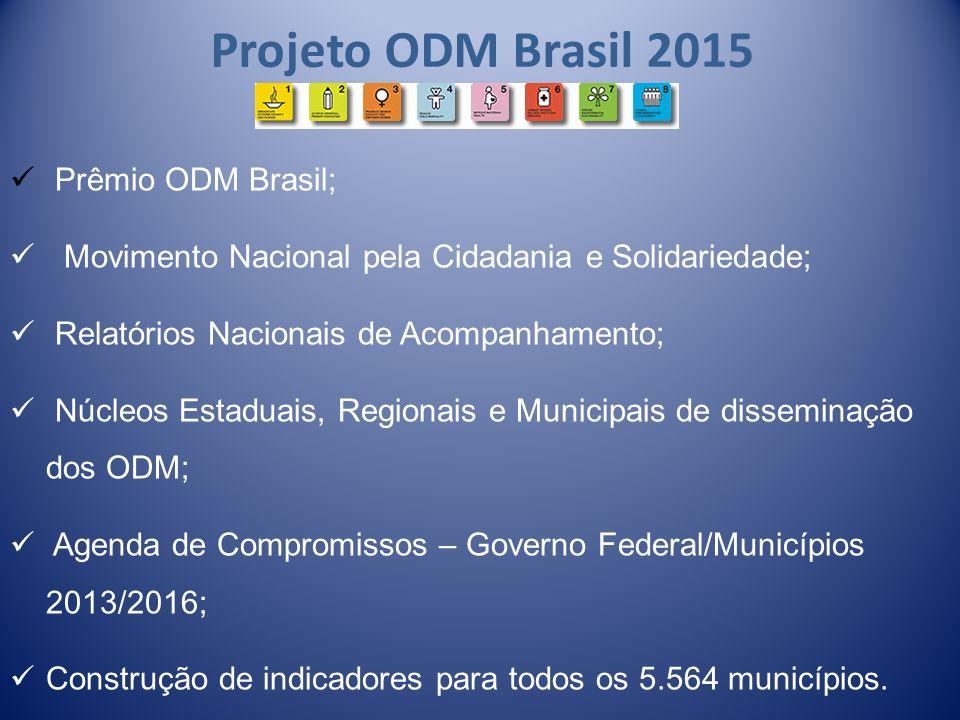 Projeto ODM Brasil 2015 Prêmio ODM Brasil; Movimento Nacional pela Cidadania e Solidariedade; Relatórios Nacionais de Acompanhamento; Núcleos Estaduai