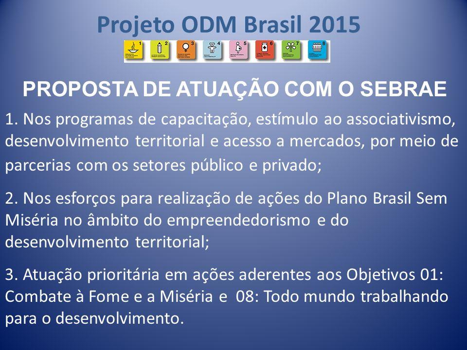 Projeto ODM Brasil 2015 1. Nos programas de capacitação, estímulo ao associativismo, desenvolvimento territorial e acesso a mercados, por meio de parc