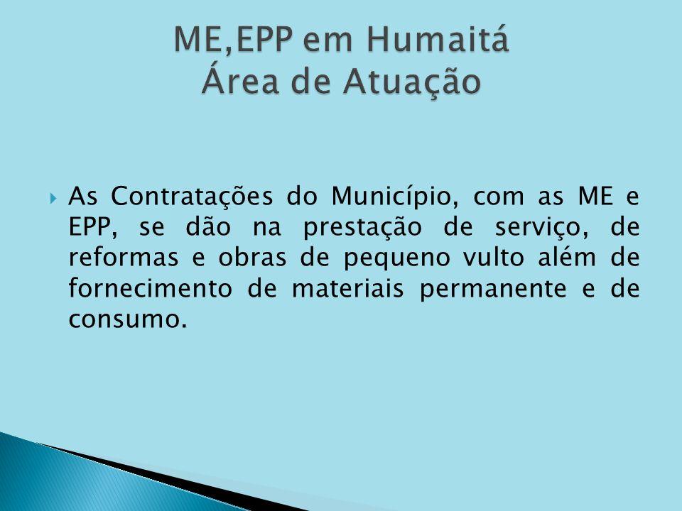 As Contratações do Município, com as ME e EPP, se dão na prestação de serviço, de reformas e obras de pequeno vulto além de fornecimento de materiais
