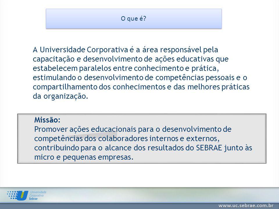O que é? Missão: Promover ações educacionais para o desenvolvimento de competências dos colaboradores internos e externos, contribuindo para o alcance