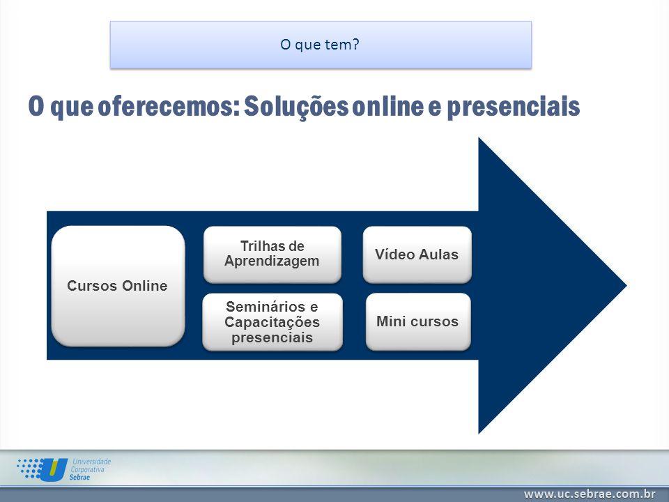 O que tem? O que oferecemos: Soluções online e presenciais S OLUÇÕES ONLINE 24 MESES S OLUÇÕES ONLINE 24 MESES Cursos Online Trilhas de Aprendizagem S