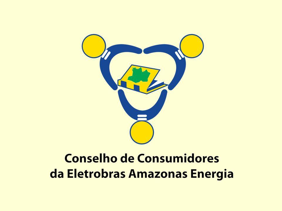 A imagem simboliza três pessoas de mãos dadas, para representar os membros do Conselho de Consumidores.