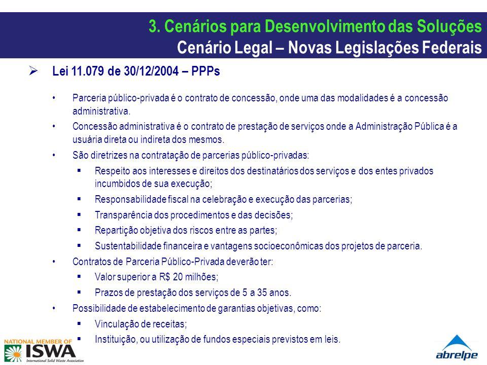 Lei 11.079 de 30/12/2004 – PPPs Parceria público-privada é o contrato de concessão, onde uma das modalidades é a concessão administrativa. Concessão a