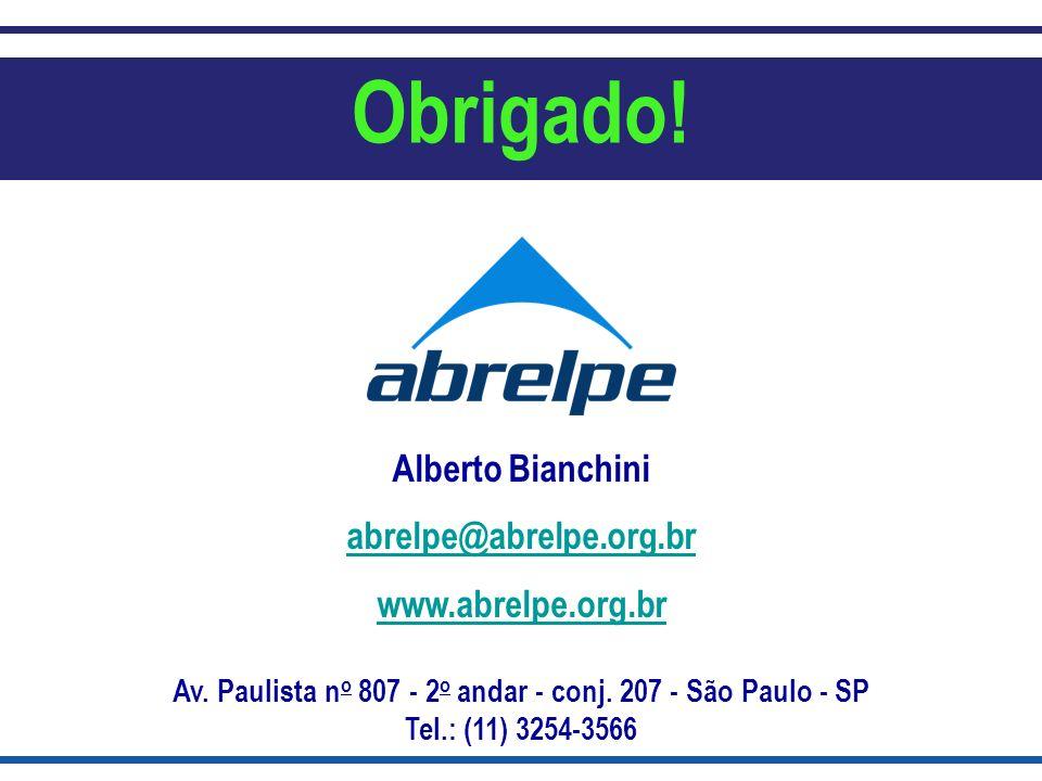 Alberto Bianchini abrelpe@abrelpe.org.br www.abrelpe.org.br Av. Paulista n o 807 - 2 o andar - conj. 207 - São Paulo - SP Tel.: (11) 3254-3566 Obrigad