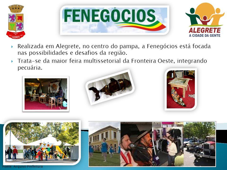 Fonte: Arquivo Prefeitura Realizada em Alegrete, no centro do pampa, a Fenegócios está focada nas possibilidades e desafios da região. Trata-se da mai