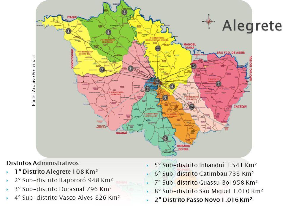 Distritos Administrativos: 1º Distrito Alegrete 108 Km² 2º Sub-distrito Itapororó 948 Km² 3º Sub-distrito Durasnal 796 Km² 4º Sub-distrito Vasco Alves