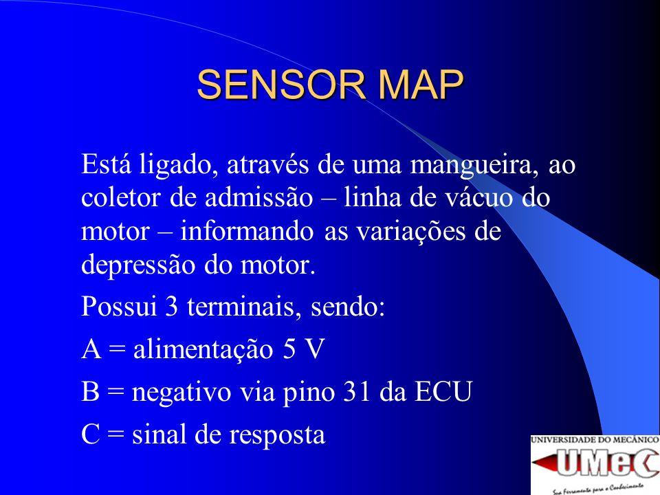 SENSOR MAP Está ligado, através de uma mangueira, ao coletor de admissão – linha de vácuo do motor – informando as variações de depressão do motor.
