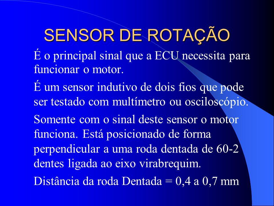 SENSOR DE ROTAÇÃO É o principal sinal que a ECU necessita para funcionar o motor. É um sensor indutivo de dois fios que pode ser testado com multímetr