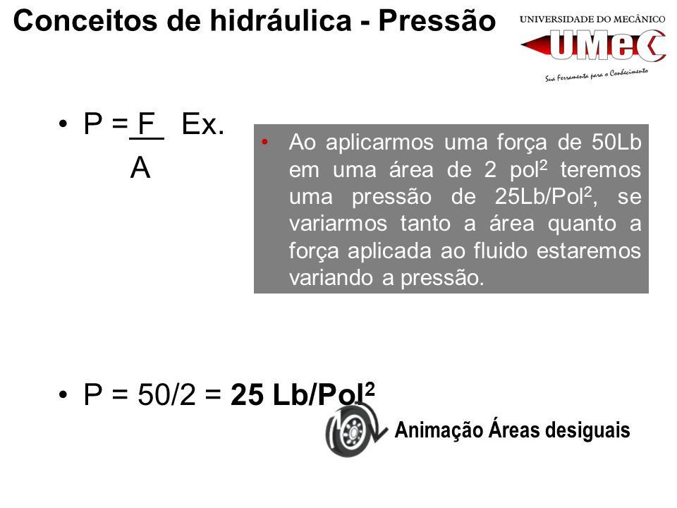 Conceitos de hidráulica - Pressão P = F Ex. A P = 50/2 = 25 Lb/Pol 2 Ao aplicarmos uma força de 50Lb em uma área de 2 pol 2 teremos uma pressão de 25L