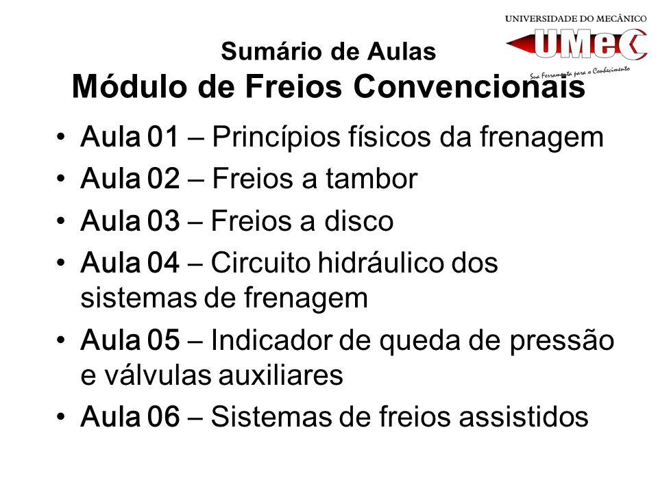 Sumário de Aulas Módulo de Freios Convencionais Aula 01 – Princípios físicos da frenagem Aula 02 – Freios a tambor Aula 03 – Freios a disco Aula 04 –