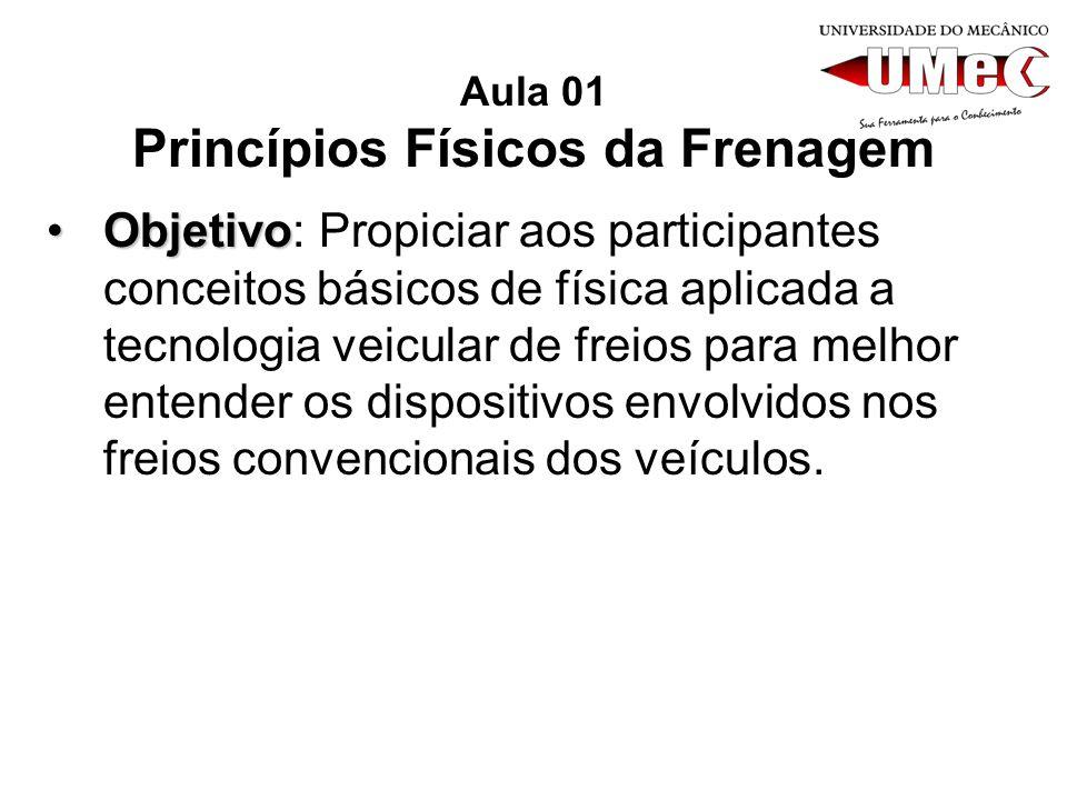 Aula 01 Princípios Físicos da Frenagem ObjetivoObjetivo: Propiciar aos participantes conceitos básicos de física aplicada a tecnologia veicular de fre