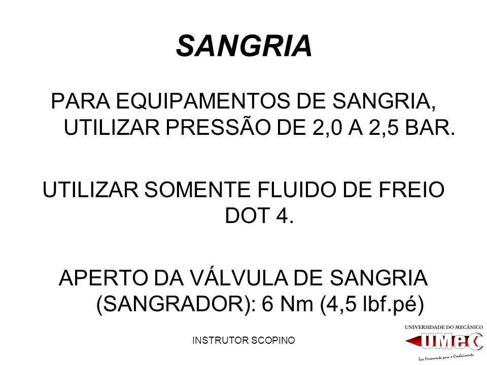 INSTRUTOR SCOPINO SANGRIA PARA EQUIPAMENTOS DE SANGRIA, UTILIZAR PRESSÃO DE 2,0 A 2,5 BAR. UTILIZAR SOMENTE FLUIDO DE FREIO DOT 4. APERTO DA VÁLVULA D