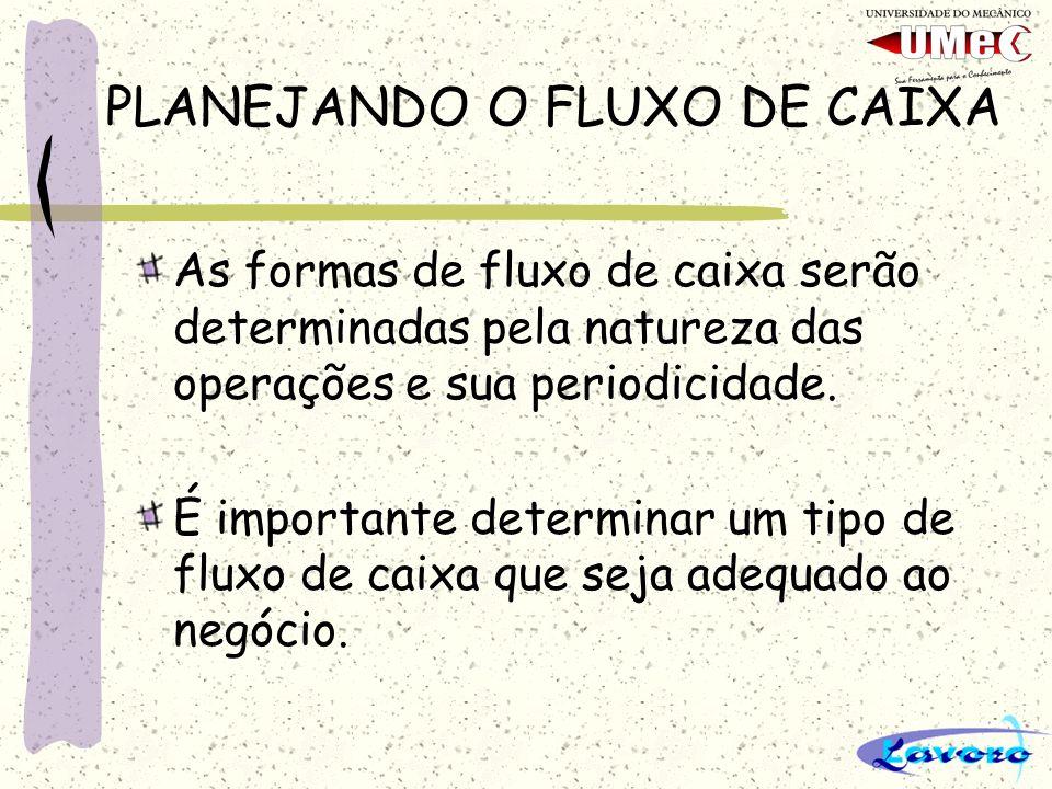 PLANEJANDO O FLUXO DE CAIXA As formas de fluxo de caixa serão determinadas pela natureza das operações e sua periodicidade.