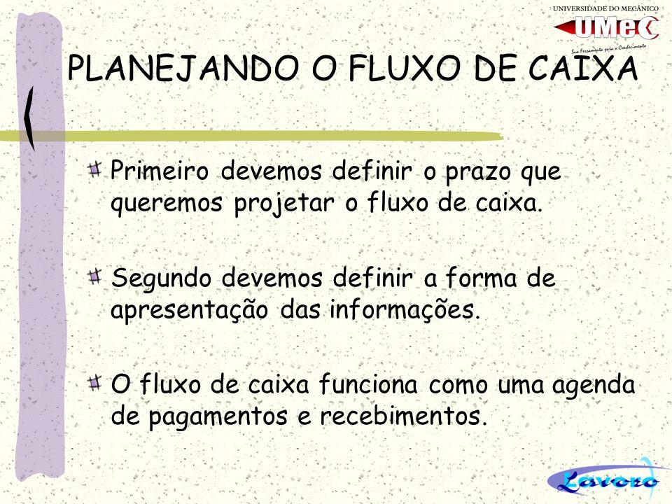 PLANEJANDO O FLUXO DE CAIXA Primeiro devemos definir o prazo que queremos projetar o fluxo de caixa.