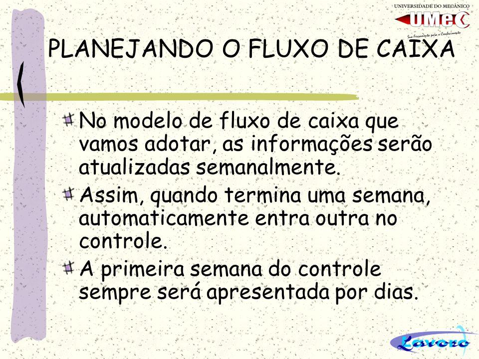 PLANEJANDO O FLUXO DE CAIXA No modelo de fluxo de caixa que vamos adotar, as informações serão atualizadas semanalmente.