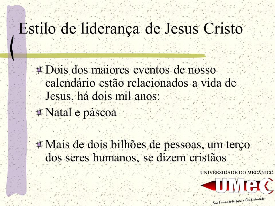 Estilo de liderança de Jesus Cristo Dois dos maiores eventos de nosso calendário estão relacionados a vida de Jesus, há dois mil anos: Natal e páscoa